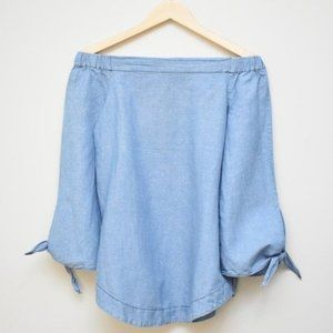 FREE PEOPLE Chambray Off The Shoulder Top